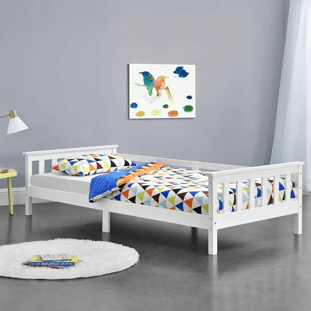 en.casa Kinderbett aus Kiefernholz mit Lattenrost und Rausfallschutz, 90x200 cm, weiß Bild 1