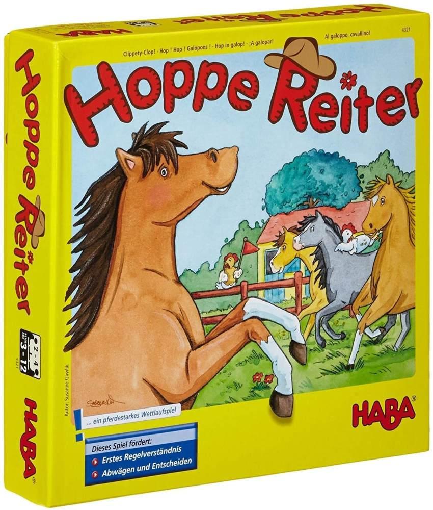 Haba 4321 - Hoppe Reiter Pferdestarkes Wettlaufspiel, für 2-4 Spieler von 3-12 Jahren, Spielbar in 3 Varianten, Brettspiel mit einfachen Spielregeln Bild 1