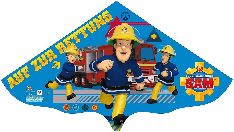 Paul Günther 1217 - Kinderdrachen mit Feuerwehrmann Sam Motiv, Einleinerdrachen aus robuster PE-Folie für Kinder ab 4 Jahre mit Wickelgriff und Schnur, ca. 115 x 63 cm groß Bild 1