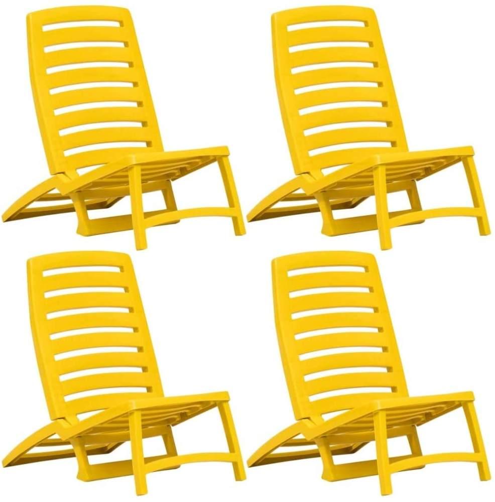 vidaXL Kinder-Strandstühle Klappbar 4 Stk. Gelb Kunststoff Bild 1