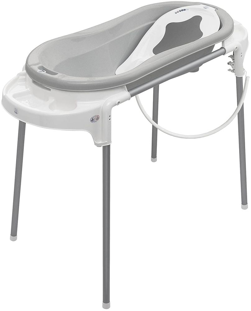 Rotho Babydesign Badeset mit großer Wanne und Funktionsständer, Ideal für 2 Kinder, 0-12 Monate, Stone Grey (Grau)/Weiß, Top Xtra Badestation, 21041 0293 01 Bild 1