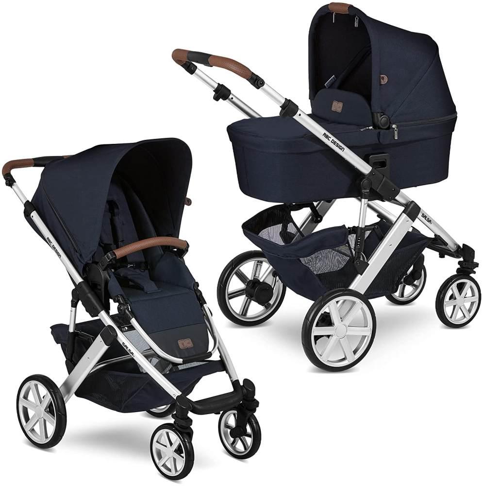 ABC Design Kinderwagen Salsa 4 – Kombi-Wagen für Neugeborene & Babys bis 22kg – Inkl. Sportsitz & Tragewanne – Kleines Faltmaß & besonders leicht – Farbe: Shadow Bild 1