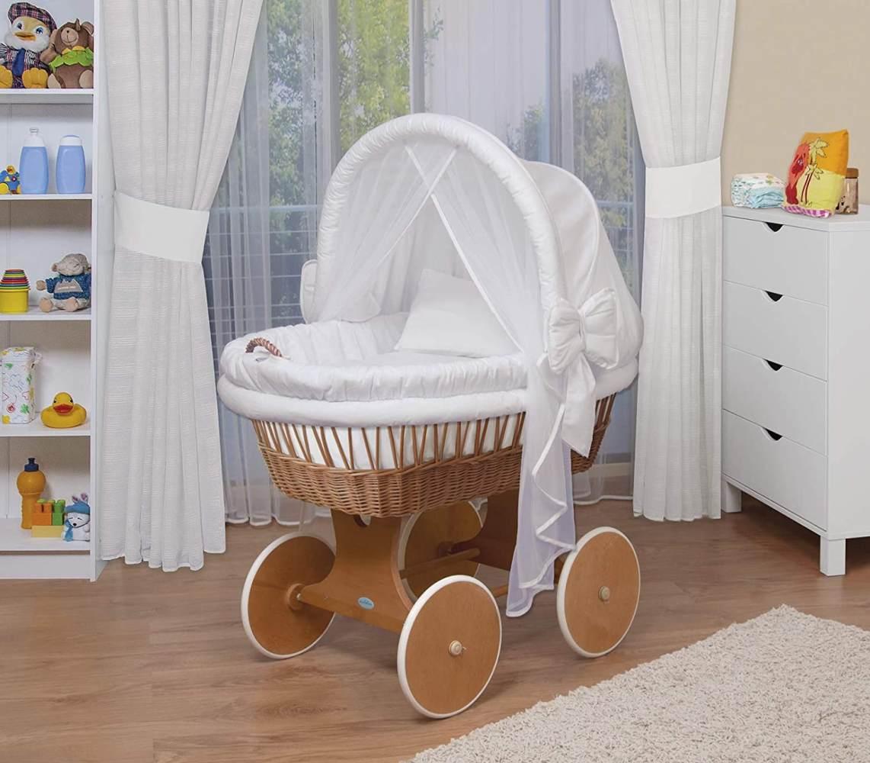 WALDIN Stubenwagen-Set mit Ausstattung, Gestell/Räder natur lackiert, Ausstattung weiß Bild 1