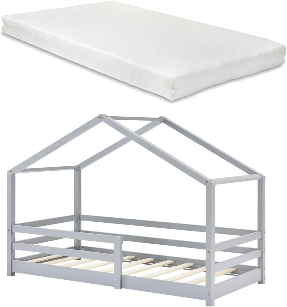 en. casa Kinderbett, 90 x 200 cm, mit Matratze und Rausfallschutz, hellgrau Bild 1