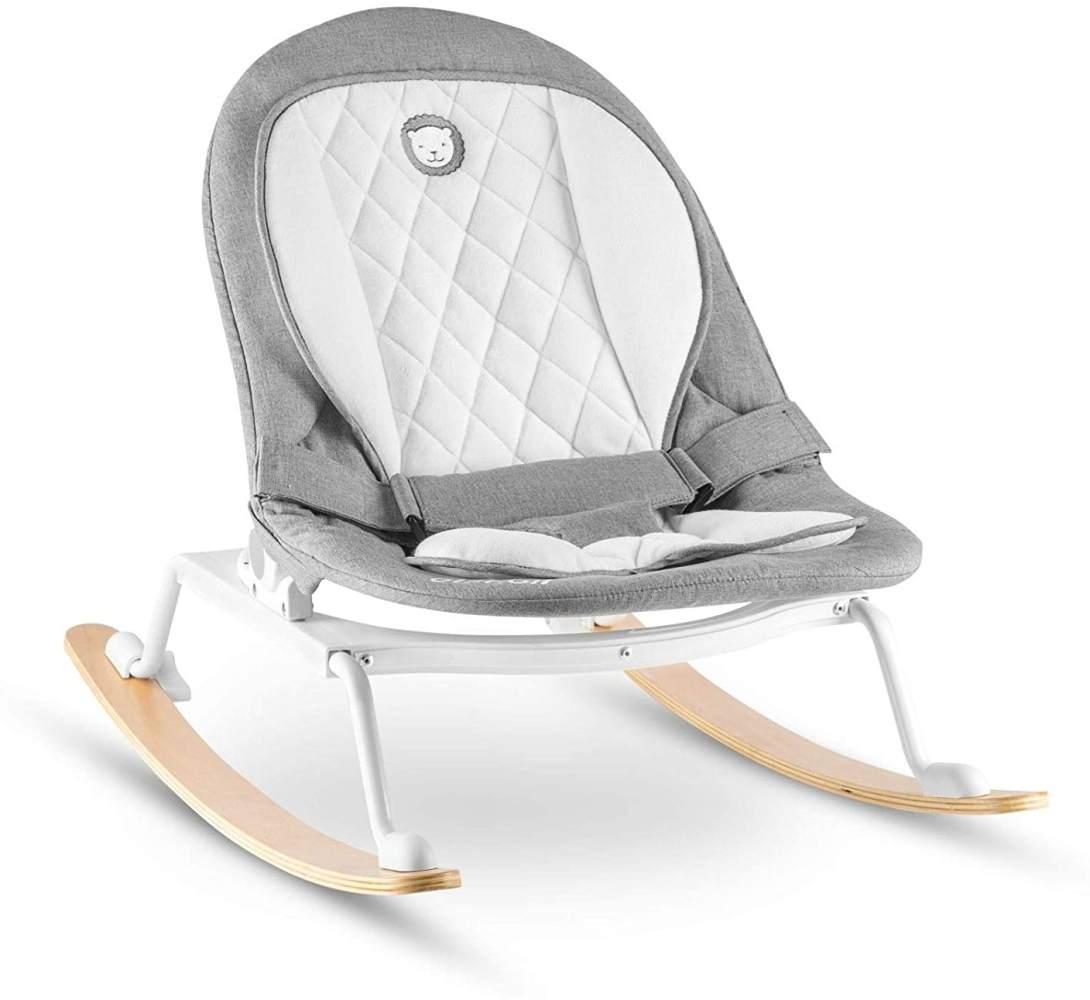 Lionelo Rosa Baby Wippe Baby Schaukel ab Geburt bis 9 kg Einsatz für Neugeborene Holz Kufen Liegeposition Sitz 90 Grad drehbar skandinavisches Design zusammenklappbar, Grau-Weiß Bild 1