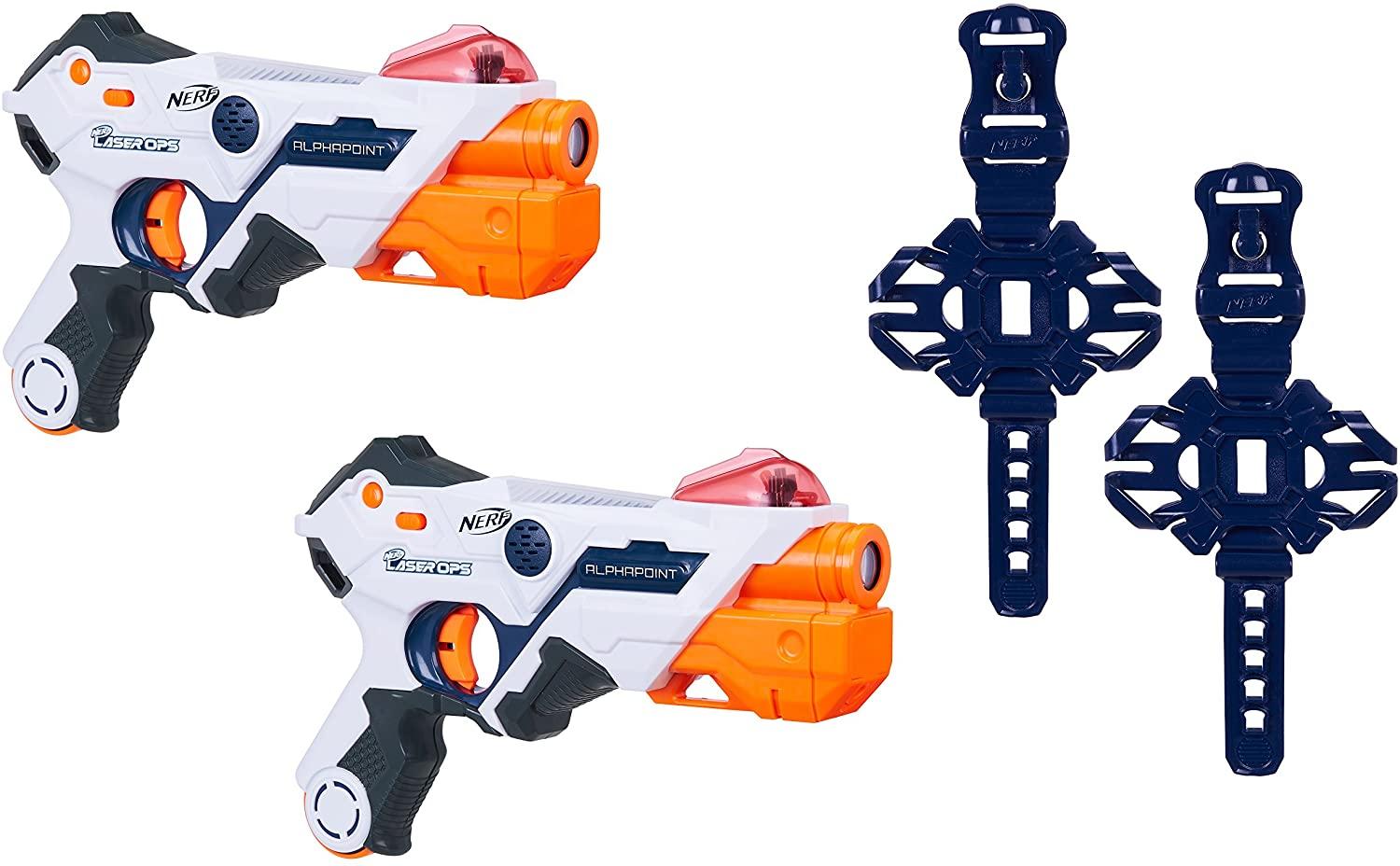 Nerf Laser Ops AlphaPoint, 2er Set, LaserTag-Blaster mit Licht- & Soundeffekt, Kinder-Spielzeug, inkl. Schnell-Lade-Taste für Infrarot-Schüsse, auch für Erwachsene Bild 1