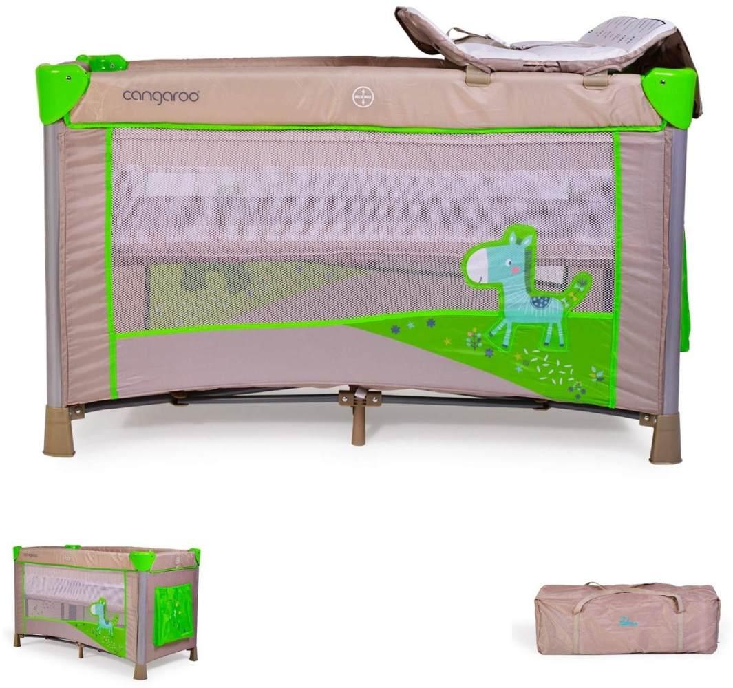 Reisebett Zebra höhenverstellbar, mit Wickelauflage, Mobile, Seiteneingang (Grün) Bild 1