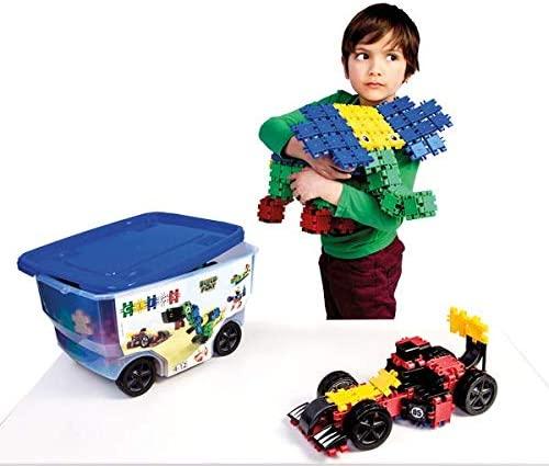 CLICS Konstruktionsspielzeug für Kinder ab 3 Jahre, kreatives Lernspielzeug im 377 Teile Set, Bausteine für Mädchen und Jungen, Montessori STEM-Spielzeug, Box mit Rollen 15 in 1, Bild 1