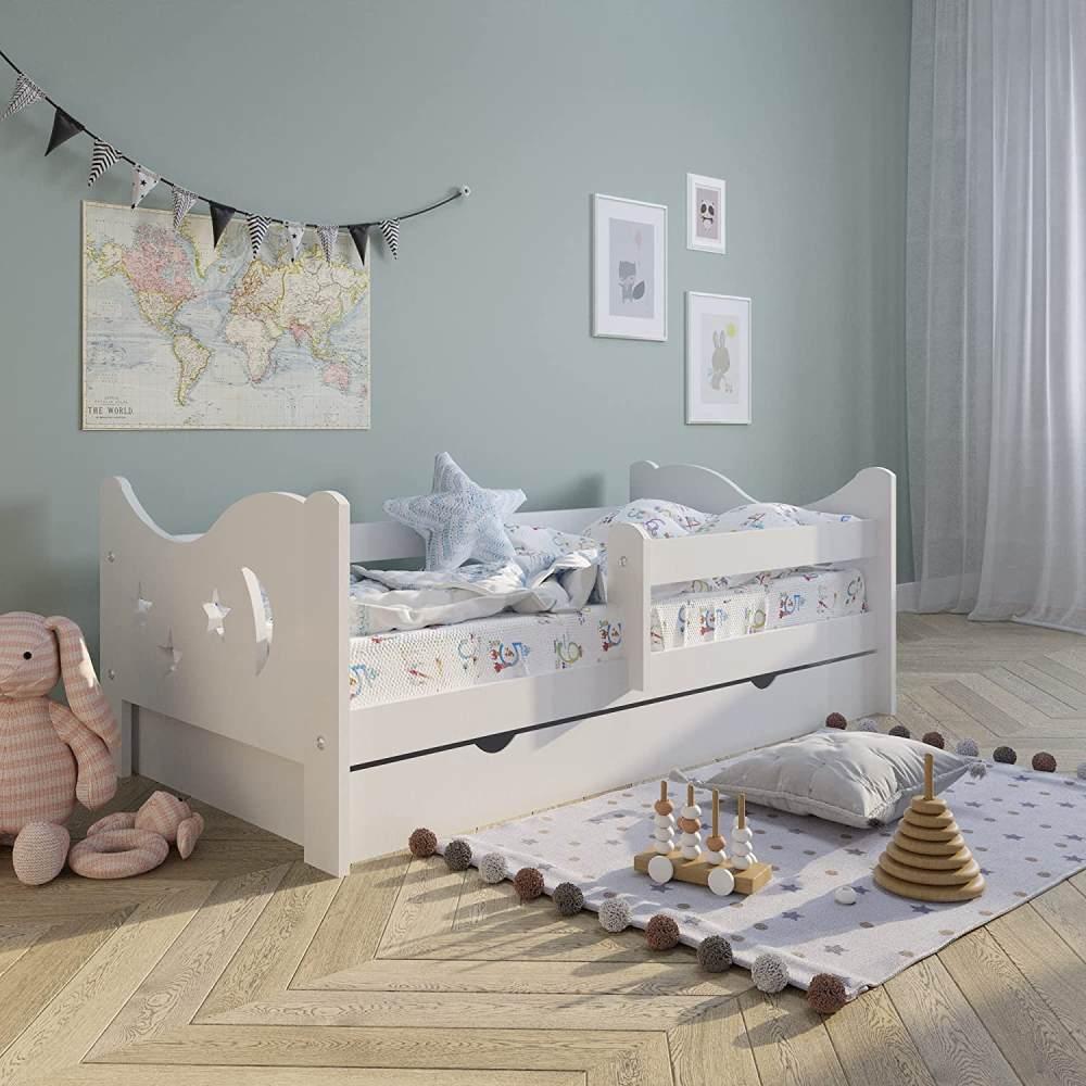Kinderbett 'Skandi' Voll-Holz 160x80 mit Rausfallschutz, Lattenrost & Schublade in weiß Kiefer Bild 1