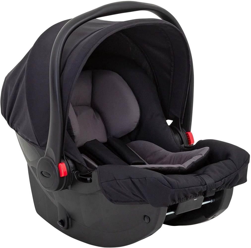 Graco SnugEssentials i-Size Babyschale, 40-75 cm (13 kg), nutzbar auch mit Base, inkl. Seitenaufprallschutz, Verdeck, Einlage, Midnight Black Bild 1