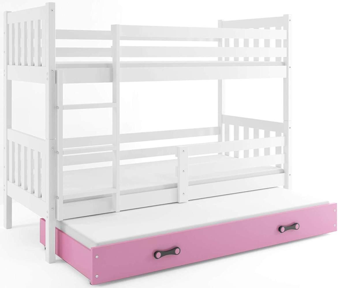Interbeds 'CARINO 3' Etagenbett weiß/pink 90x190cm Bild 1