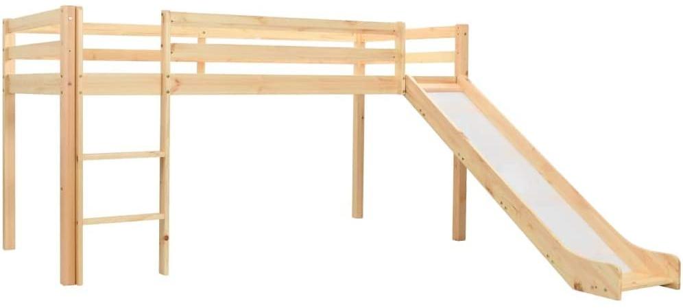 vidaXL Kinderhochbett-Rahmen mit Rutsche & Leiter Kiefernholz 97x208cm Bild 1