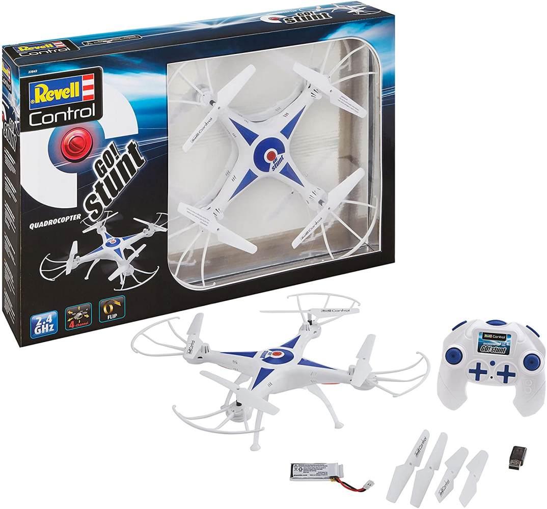 Revell Control 23842 RC Quadcopter GO! Stunt, für Einsteiger, 2.4GHZ, Akku, Flip-Funktion, Rotorschutz, LED, Headless-Mode, Geschwindigkeitsstufen, ferngesteuerter Quadrokopter, weiß, 31 cm Bild 1