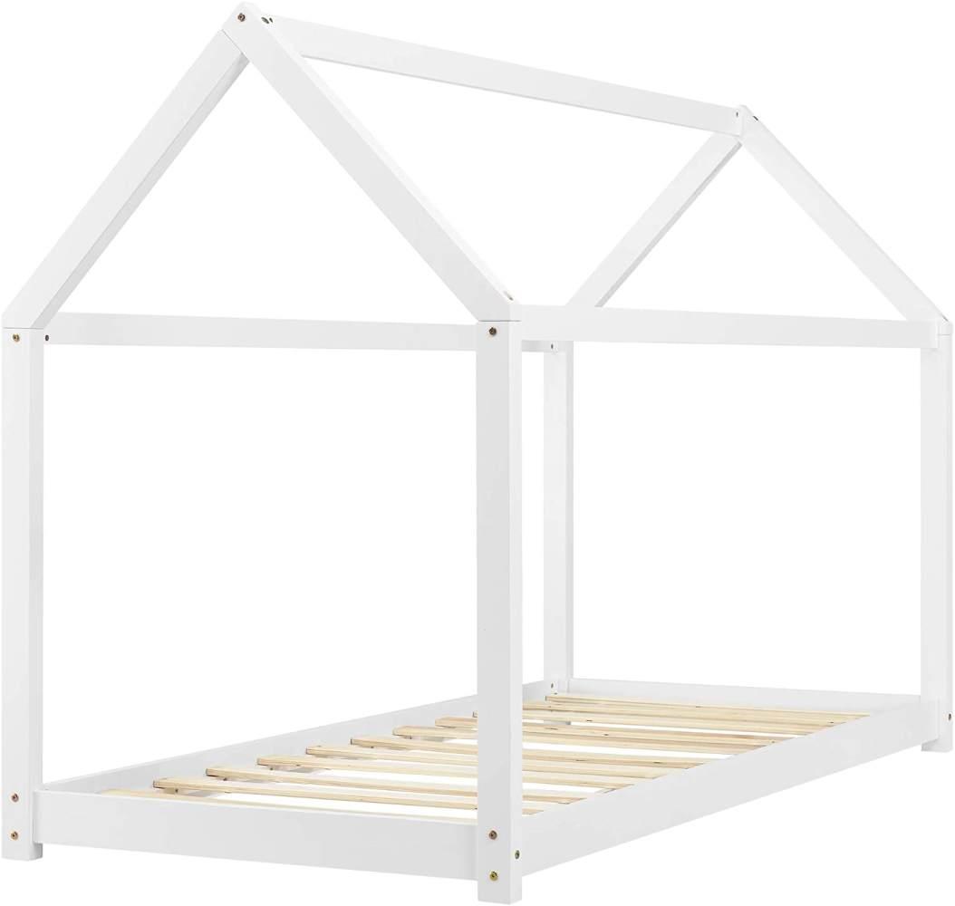 en.casa Hausbett aus Kiefernholz inkl. Lattenrost 80x160 cm, weiß Bild 1