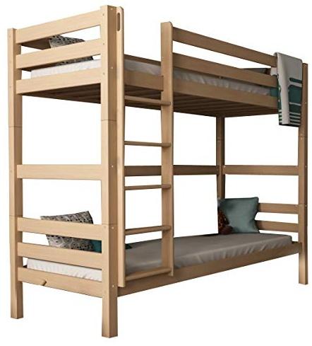 Mobi Furniture 'Daniel' Etagenbett 90x200 inkl. Lattenrost Massivholz Buche natur Bild 1