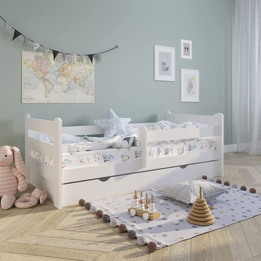 Kinderbett Voll-Holz 160x80 mit Rausfallschutz, Lattenrost & Schublade in wei§ Kiefer 80 x 160 MŠdchen Jungen Bett Skandi Bild 1