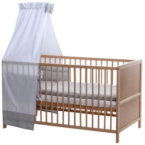 BABY-PLUS Komplettes Kinderbett Lines natur - grau mit weißen Punkten Bild 1