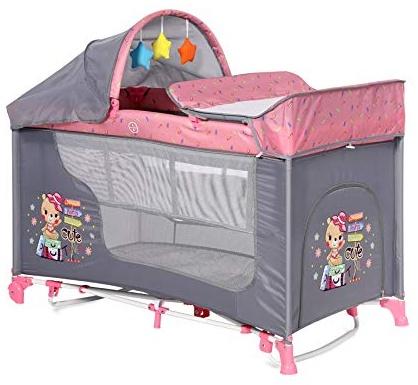 Lorelli 'Moonlight' Reisebett 60x120 cm, pink, zwei Ebenen, Schaukelfunktion, Matratze, Wickelauflage Bild 1