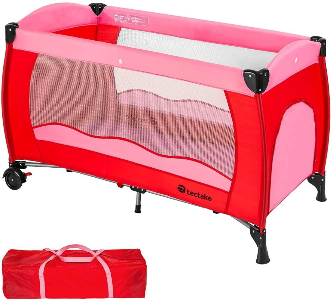 TecTake Kinderreisebett 60x120 cm, pink, mit Schlupfloch, Transporttasche und Rollen Bild 1