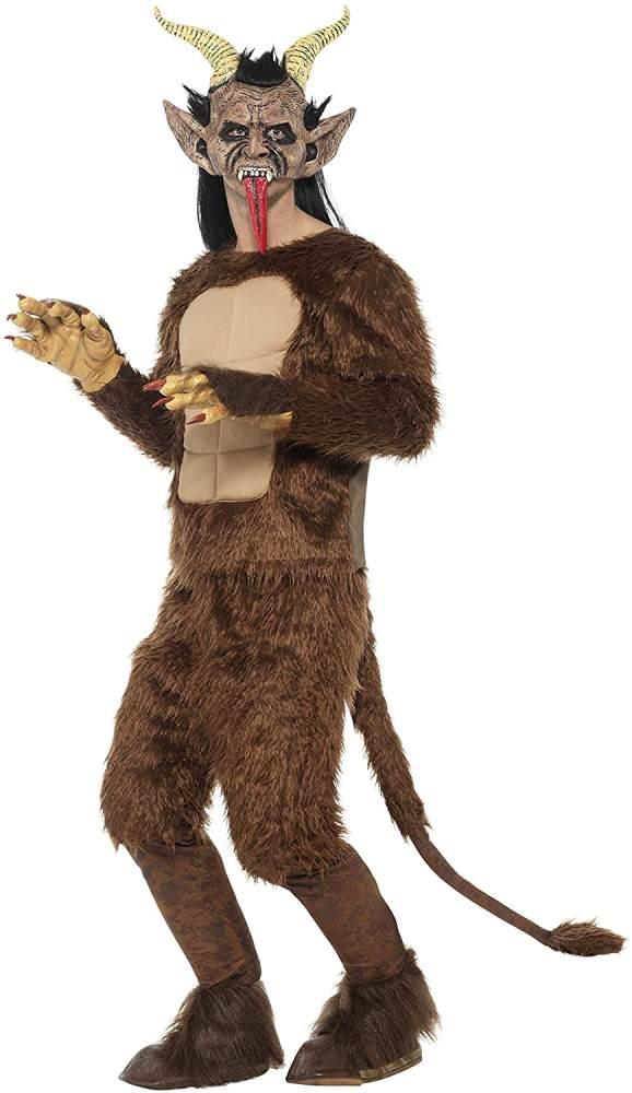 Halloween! Smiffys Deluxe Bestien/ Krampus-Dämon Kostüm, Samtfell, Braun, Muskelbrust-Oberteil, Hose mit Polsterung Schwanz, Maske, Handschuhe und Hufe Bild 1