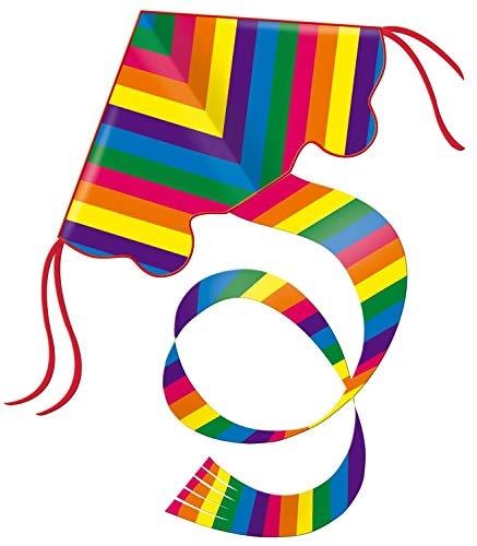 Paul Günther 1159 - Einleinerdrachen Rainbow, farbenprächtiger Drachen mit 1,5 m langem Schwanz, mit Wickelgriff und Schnur, ca. 98 x 54 cm groß Bild 1