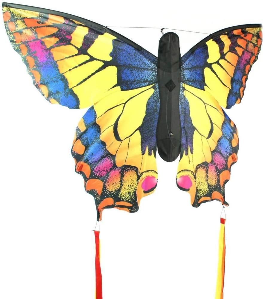 HQ Windspiration 106542 - Butterfly Kite Swallowtail 'L' Kinderdrachen Einleiner, ab 5 Jahren, 80x130cm und 2x600 cm Drachenschwanz, inkl. 17kp Polyesterschnur 40m auf Spule, 2-5 Beaufort Bild 1