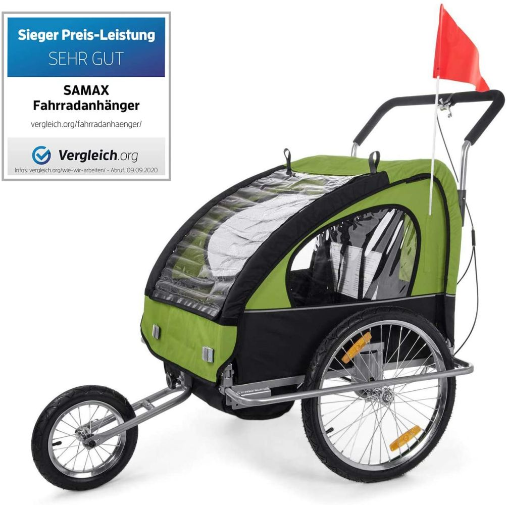 SAMAX Fahrradanhänger Jogger 2in1 Anhänger in Grün/Schwarz - Silver Frame Bild 1