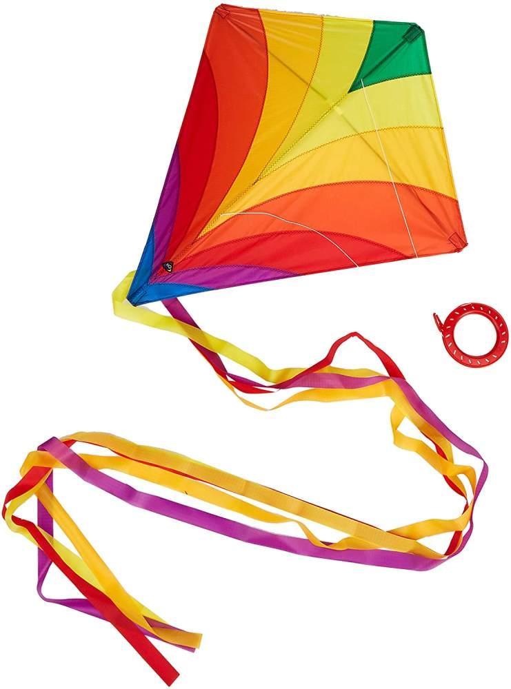 HQ Windspiration 100045 - Eddy Rainbow Kinderdrachen Einleiner, ab 5 Jahren, 68x68cm und 200cm Drachenschwanz, inkl. 17kp Polyesterschnur 40m auf Spule, 2-5 Beaufort Bild 1
