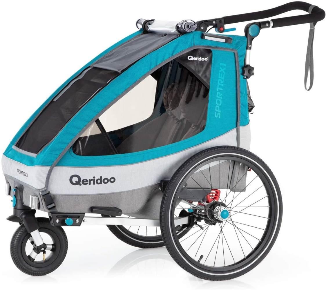 Qeridoo 'Sportrex1' Fahrradanhänger 2020, Petrol, 1-Sitzer, mit luftbereiftem Buggyrad Bild 1