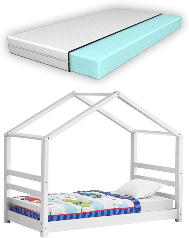 [en.casa] Hausbett weiß 80x160cm, inkl. Lattenrost und Matratze Bild 1