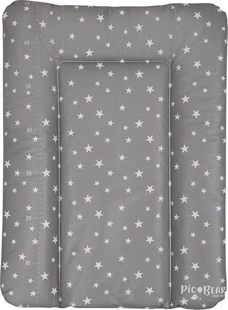 Wickelauflage HONEY | weiche Wickelunterlage | Öko-Tex 100 | abwaschbar und pflegeleicht (50 x 70 cm, Sterne grau-weiß) Bild 1