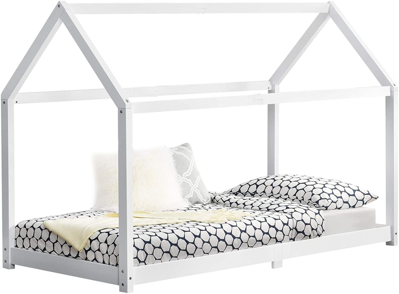 en.casa 'Embrach' Hausbett weiß, 90x200cm Kiefernholz Weiß Bild 1