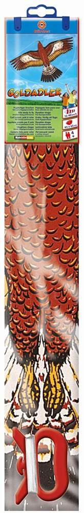 Paul Günther 1180 - Kinderdrachen mit Goldadler Motiv, Einleinerdrachen aus robuster PE-Folie mit verstellbarer Drachenwaage, für Kinder ab 4 Jahre mit Wickelgriff und Schnur, ca. 92 x 62 cm groß Bild 1