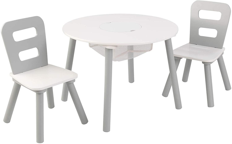 KidKraft Kindertisch mit 2 Stühlen Grau Massivholz 26166 Bild 1