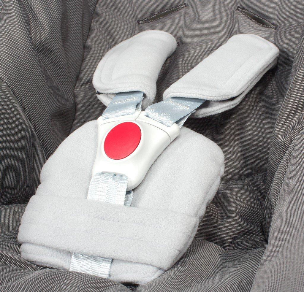 ByBoom® - Gurtpolster Set - universal für Babyschale, Buggy, Kinderwagen, Autositz (z.B. Maxi Cosi City SPS, Cabrio, Cybex Aton usw.); In vielen Farben; MADE IN EU, Farbe:Grau Bild 1