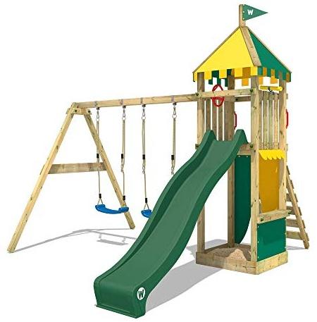 WICKEY Spielturm Klettergerüst Smart Brave mit Schaukel & grüner Rutsche, Kletterturm mit Sandkasten, Leiter & Spiel-Zubehör Bild 1