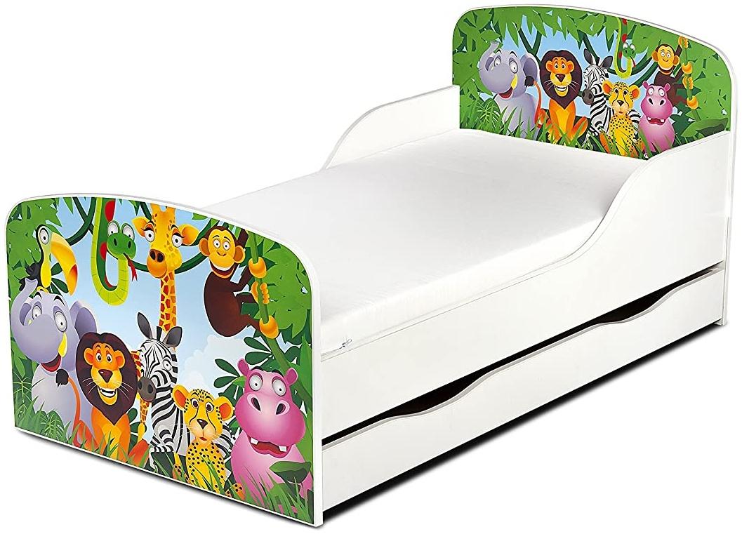 Leomark Kinderbett 70x140 cm, Animals, mit Matratze, Schublade und Lattenrost Bild 1