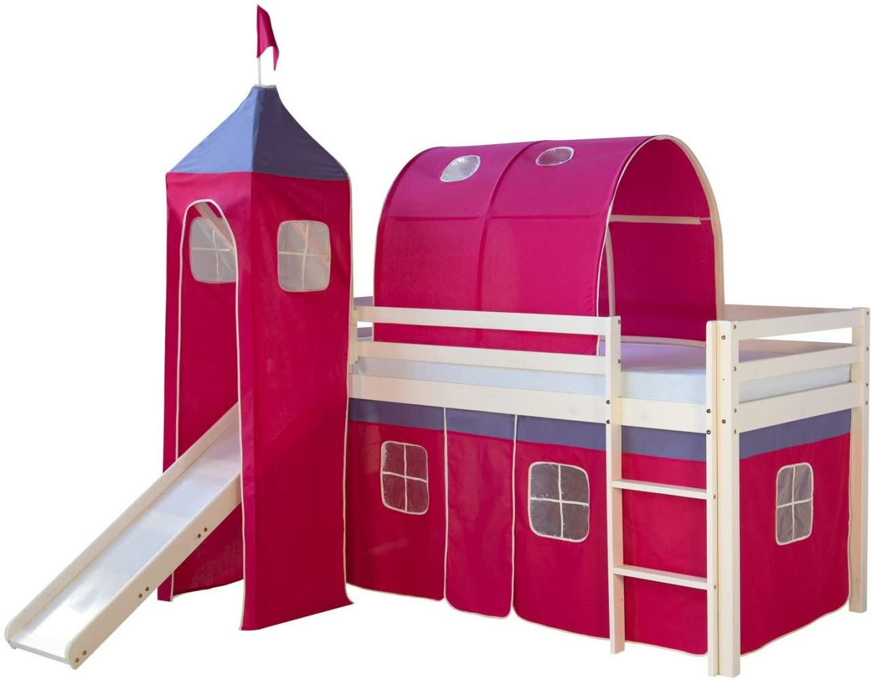 Kinderbett Hochbett Spielbett Kinderhochbett Vorhang Rutsche Turm Bild 1