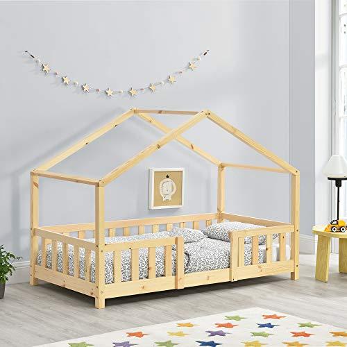 en.casa Hausbett aus Kiefernholz mit Rausfallschutz und Lattenrost 70x140 cm, natur Bild 1