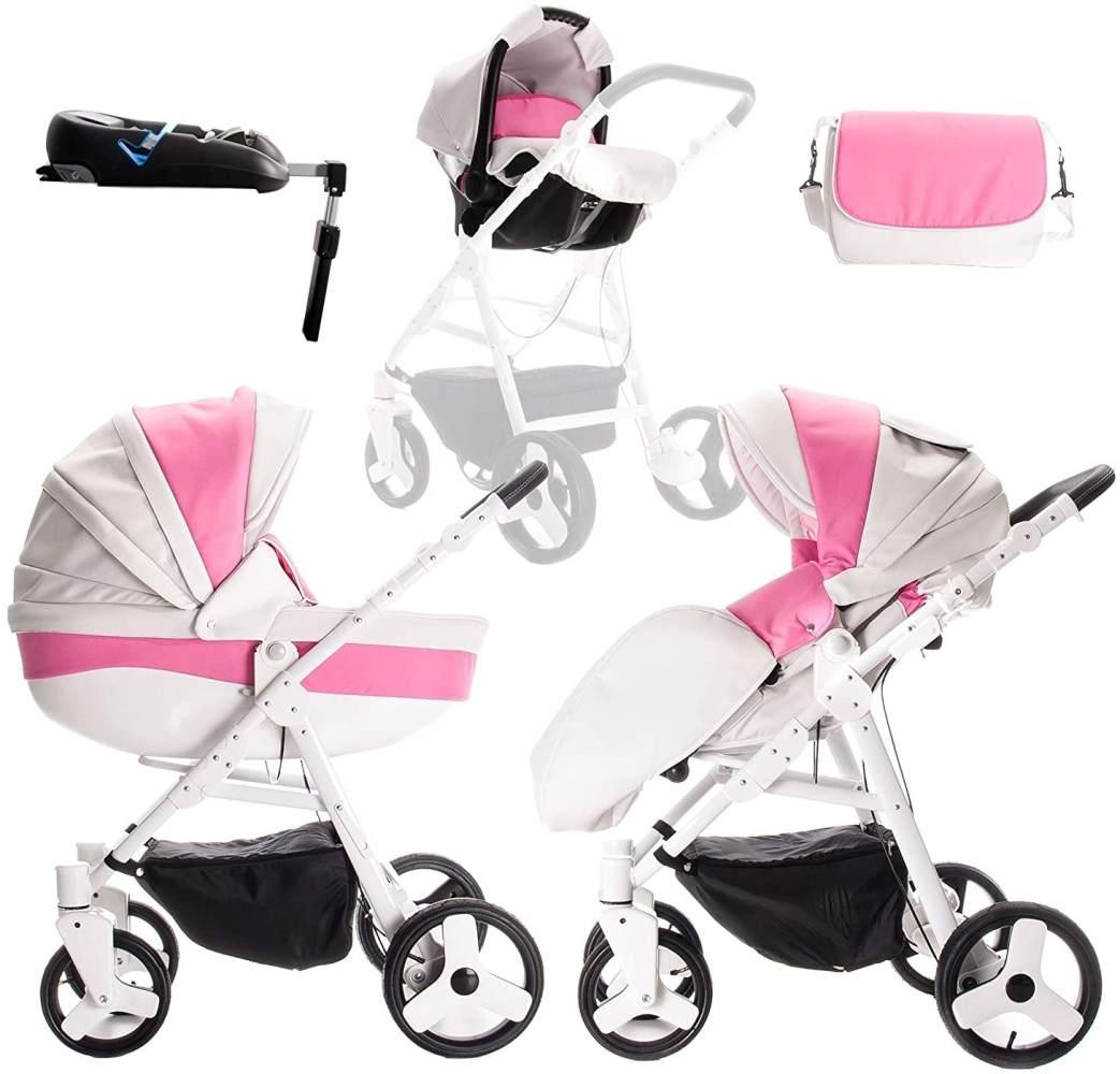 Friedrich Hugo Easy Comfort | 4 in 1 Kombi Kinderwagen + ISOFIX | Farbe: White Pink & Leatherette Bild 1