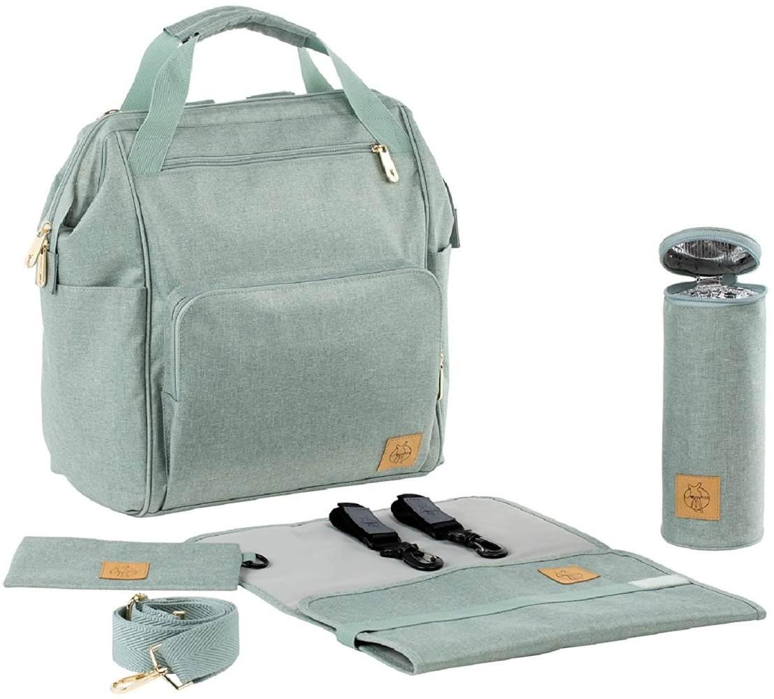 LÄSSIG Baby Wickelrucksack Wickeltasche inkl. Wickelzubehör nachhaltig produziert/Goldie Backpack, mint Bild 1