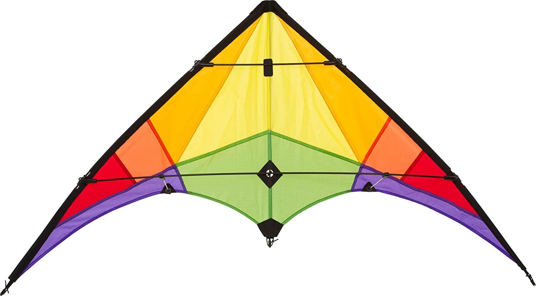 Ecoline 10216230 - Rookie Rainbow Lenkdrachen Zweileiner, ab 8 Jahren, 60x120cm, inkl. 20kp Polyesterschnüre 2x25m auf Spulen, 3-5 Beaufort Bild 1