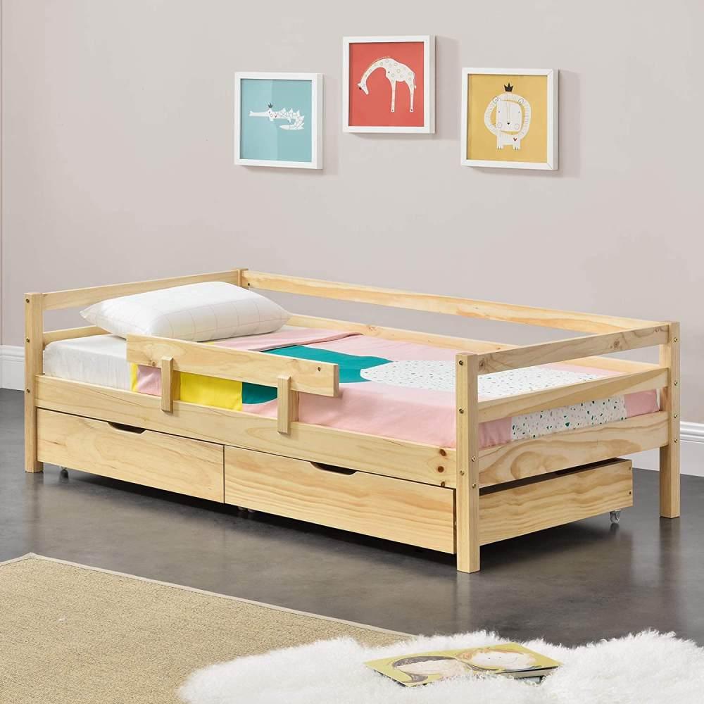 en.casa Kinderbett aus Kiefernholz mit 2 Bettkasten und Lattenrost 140x70 cm, natur Bild 1