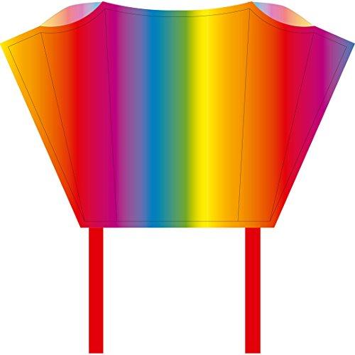 HQ Windspiration 100081 -Sleddy Rainbow Kinderdrachen Einleiner, ab 5 Jahren, 50x76cm und 1.9m Drachenschwanz, inkl. 17kp Polyesterschnur 40m auf Spule, 2-6 Beaufort Bild 1