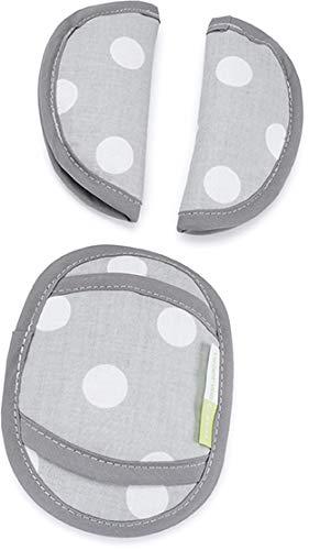 Priebes PHILIP Gurtpolster für Babyschale | praktischer Gurtschoner | waschbar bei 30 Grad | 100% Baumwolle | weich & bequem | Made in EU, Design:polka grau Bild 1