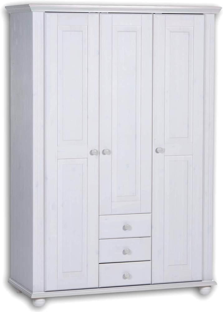Bega Kleiderschrank Babyzimmer LAURA Kiefer massiv weiß 3-türig Bild 1