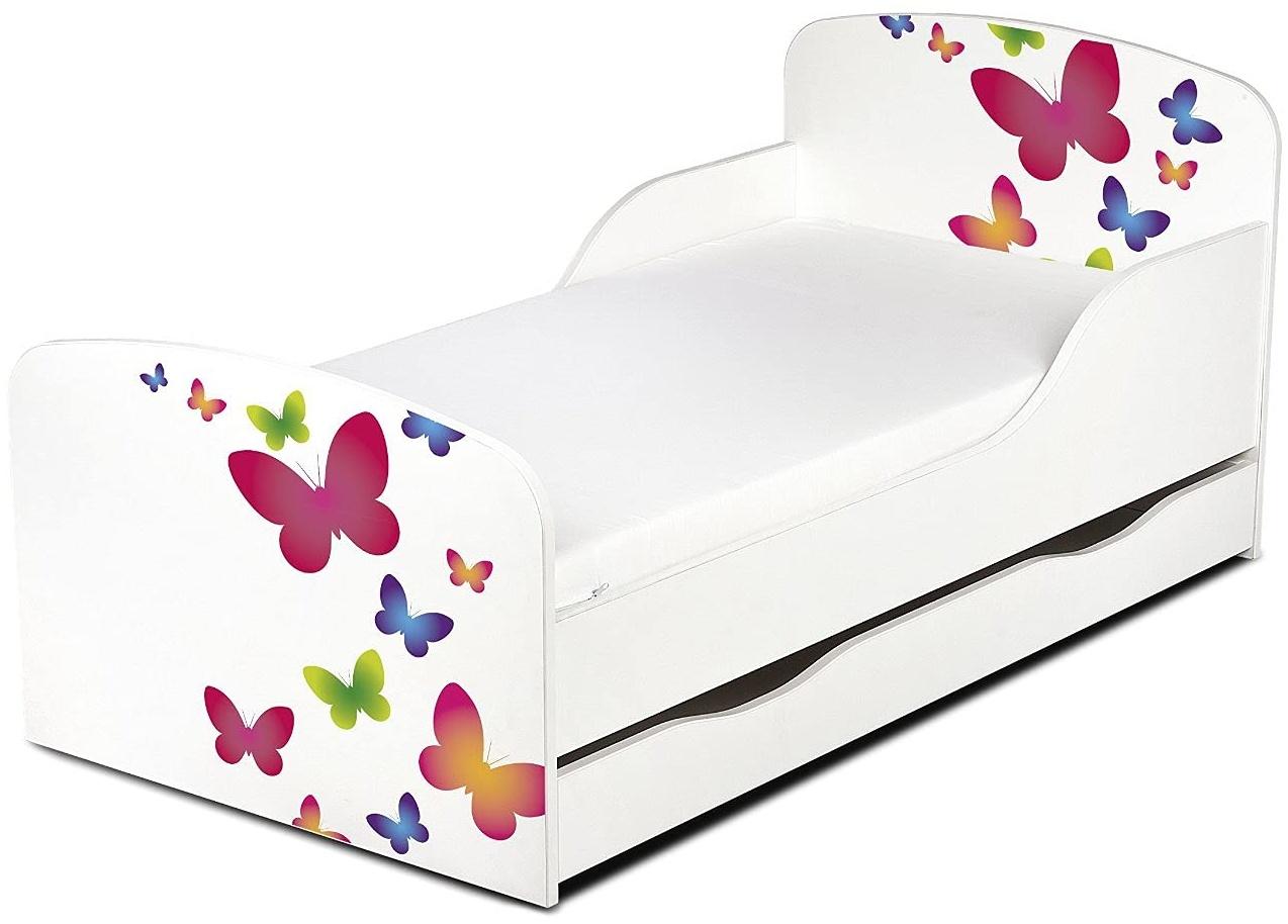 Leomark Kinderbett 70x140 cm, Schmetterlinge, mit Matratze, Schublade und Lattenrost Bild 1