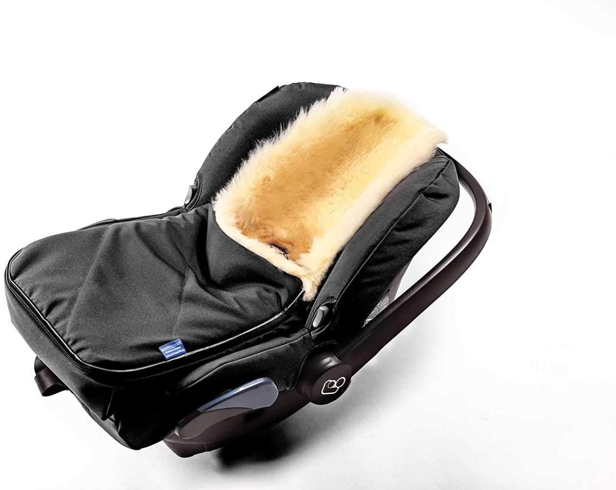 Fußsack für Babyschale Hofbrucker - kuscheliger universal Lammfellfußsack, medizinisches echtes Fell, für Tragetasche, Kinderwagen und Buggy geeignet, Design:schwarz' Bild 1