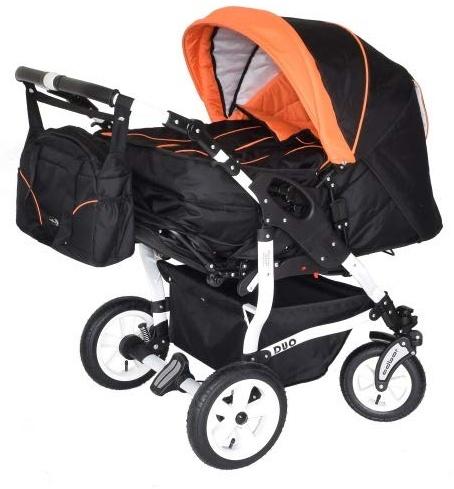 Adbor Duo 3in1 Zwillingskinderwagen mit Babyschalen - weißes Gestell, Zwillingswagen, Zwillingsbuggy Farbe Nr. 01w schwarz/orange Bild 1
