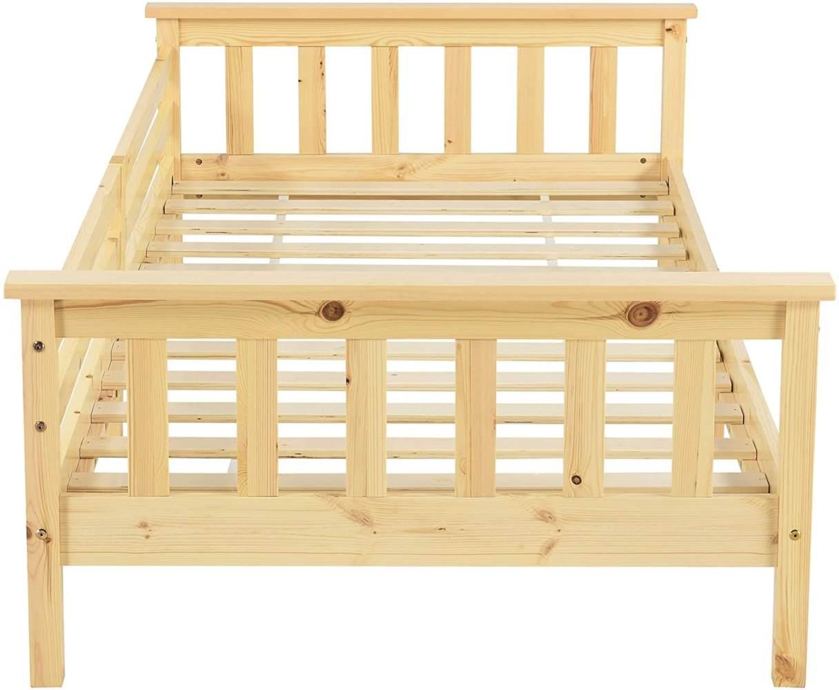 en.casa Kinderbett aus Kiefernholz mit Rausfallschutz 90x200 cm inkl. Lattenrost, natur Bild 1